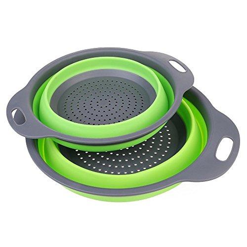 Tpingfe Foldable Silicone Colander Fruit Vegetable Washing Basket Strainer Kitchen Tool (Green, L)