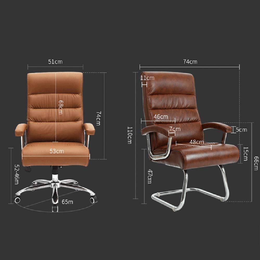 Dalovy bekväm vilande högrygg PU-läder kontorsstol, verkställande och ergonomisk svängbar stol bärande kapacitet: 150 kg Camel