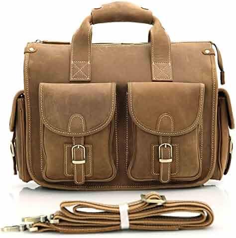 8a9c2401845c Men s Messenger Bag Portable Vintage Leather Briefcase Netbook Shoulder  Messenger Crossbody Satchel Bag Organizer Brown for