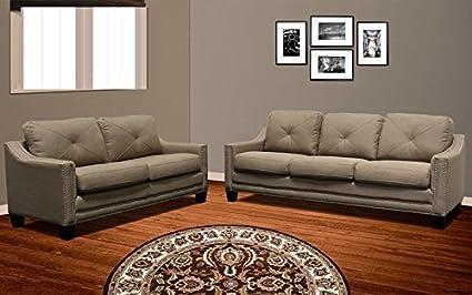 Taupe Fabric 2pc Sofa Set W Nailhead Trim Sofa And Love Seat Burlap Simple  Modern