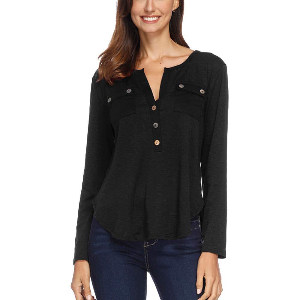 St.Dona Women Autumn Casual Long Sleeve Pockets Patchwork V Neck T Shirt Top Blouse