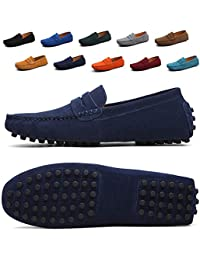 Men's Penny Loafers Moccasin Driving Shoes Slip On Flats Suede Leather Shoes