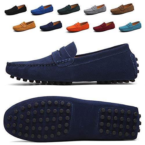 Ezkrwxn Navy Blue Loafers for Men Slip on Walking Shoes Office Business Casual Leather Sneakers Moccasins Flat Boat Driving Shoe Size 8 (2088-Navyblue-41) Calfskin Leather Mens Sneakers