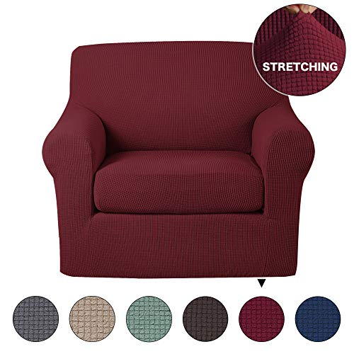 Stretch Chair Slipcover 2 Pieces Furniture Cover/Protector with Spandex Jacquard Checked Pattern, Spandex Fabric Living Room Couch Slipcovers (1 Seater Chair, Burgundy) (Burgundy Slipcover)
