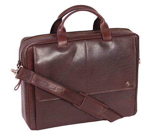 Real Leather Briefcase for Mens Messenger Laptop Satchel Bag Bennett Brown