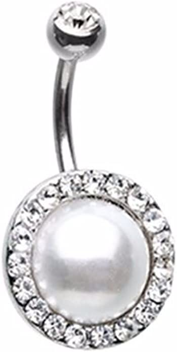 Sold Per Piece Dynamique Double Gem Prong Set Teardrop CZ 316L Surgical Steel Belly Button Ring