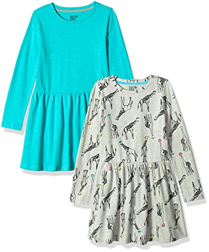 Spotted Zebra Little Girls' Knit Long-Sleeve Play Dress, Giraffe/Teal, Small (6-7) ()