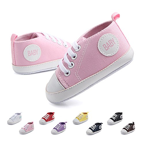 Pink First Walkers (Antheron Infant Canvas Shoes - Baby Boys Girls Anti-Slip First Walker Toddler Sneaker Newborn Crib Shoes (Pink,6-9Month))