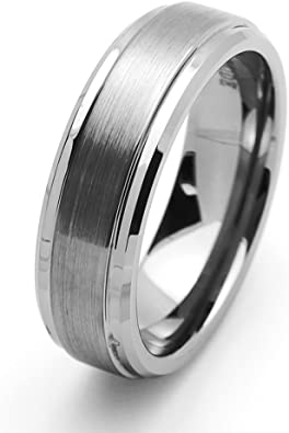 Black Tungsten Ring 7MM Brushed Finish Comfort Fit Tungsten Carbide Wedding Band