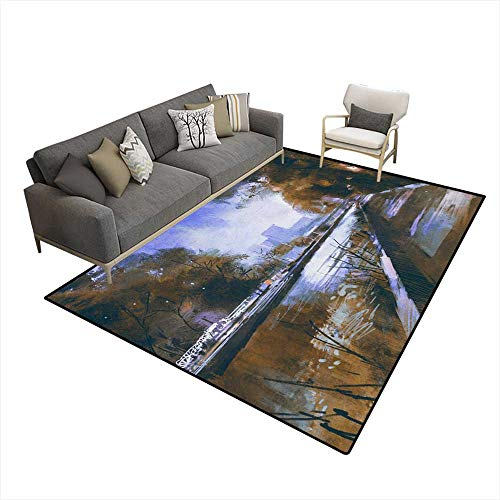 Girls Bedroom Rug Riverside Walkway in a Tranquil City