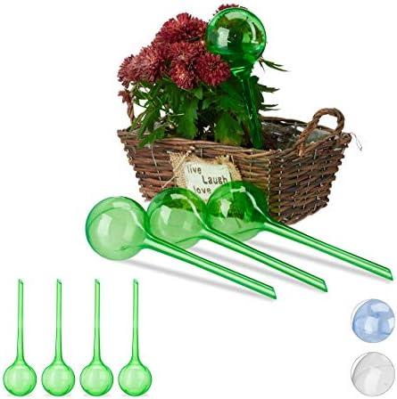 Relaxdays 8 x Bewässerungskugeln, Dosierte Bewässerung, 2 Wochen, Versenkbar, Topfpflanzen, Kunststoff, Bewässerungshilfe, grün