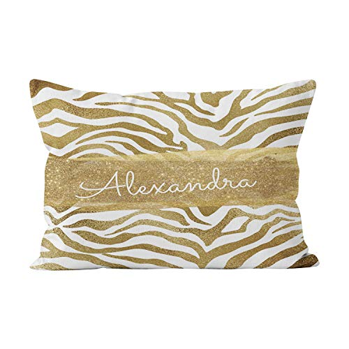Solid Gold Animal Skin Cream - Hahala Gold and White Animal with Gold Glitter Funny Hidden Zipper Home Decorative Rectangle Throw Pillow Cover Cushion Case 20x30 Inch Queen One Side Design Printed Pillowcase