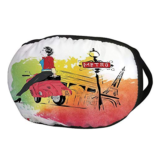 Fashion Cotton Antidust Face Mouth Mask,Fashion House Decor,Woman on Pink Motorcycle Trend Vogue in Paris Eiffel Tower Art Print,Red Orange,for women & men ()