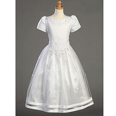 Lito Plus Size Girls Satin Tulle Overlay First Communion Dress 12.5