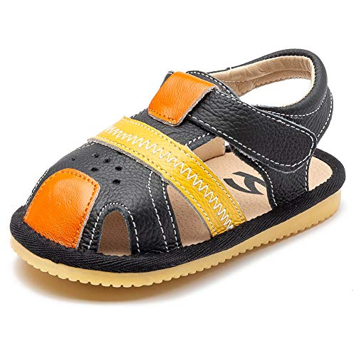 HOBIBEAR Toddler Summer Sandals Closed Toe Flat Shoes Little Kid Water Shoes Beach Shoes(Orange/Black 4.5)