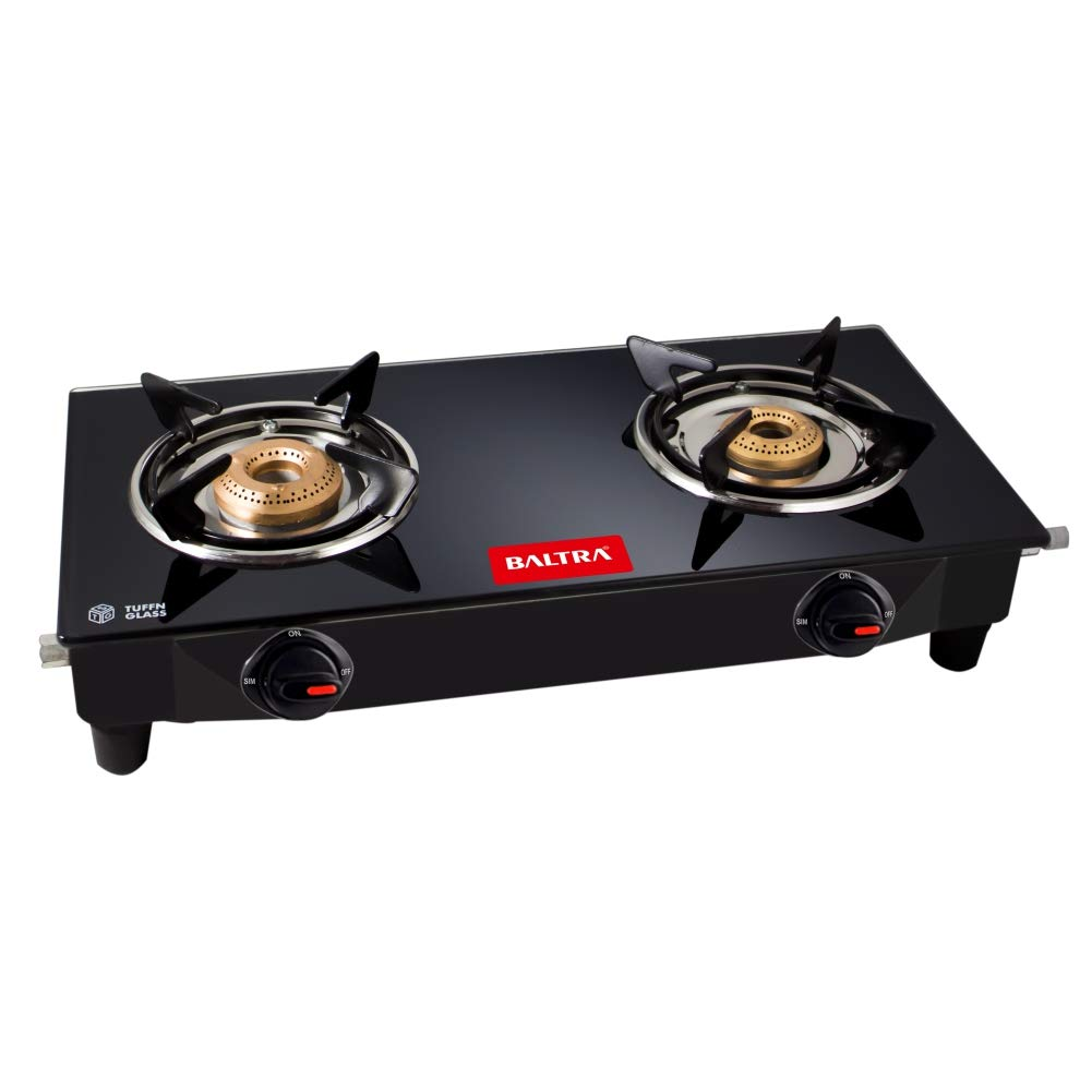 Baltra Glimmer Glass Top 2 Burner Gas Stove (Black)