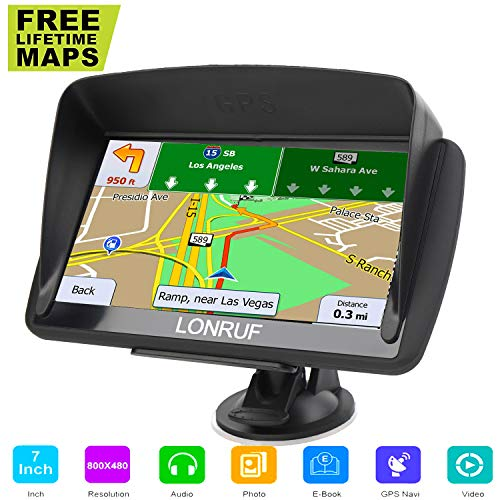 LONGRUF Car GPS Navigation, 7-inch HD Display, 256MB-8GB Real Voice Broadcast, Install The Latest Map of The United States (Free Update Lifetime Map)
