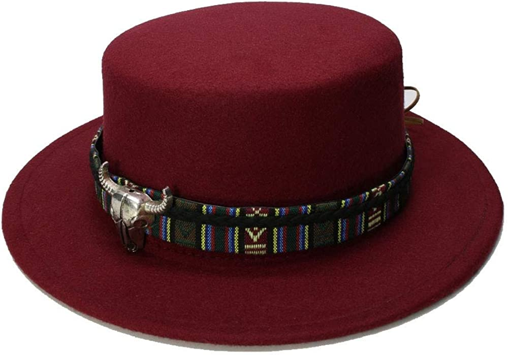 Retro Women Men Vintage 100/% Wool Wide Brim Cap Pork Pie Porkpie Bowler Hat Cow Head Leather Band