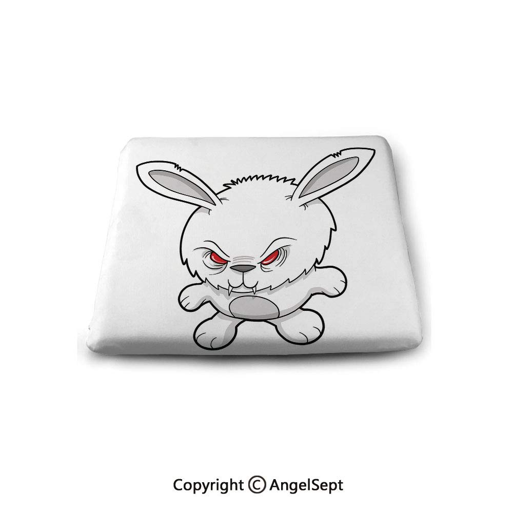 oobon Square Chair Seat Cushion for Kitchen Dining Chairs,Vampire,Bunny Cute Funny Character Angry Animal Cartoon Style Evil Rabbit Illustration Decorative,Black White Red,Memory Butt Pad Non Slip