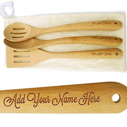 Cookbook People Personalized 14in Large Wood Spatula and Spoon Set - Add your name to handles - Cotton Gift Bag - Beech Hard Wood - Heirloom Quality