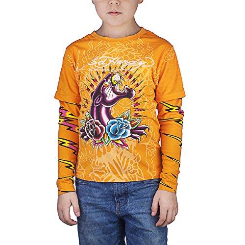 Ed Hardy Kids Long Sleeve Panther and Roses T-Shirt - Orange - -