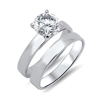 Amazon Com 925 Sterling Silver Solitaire Bridal Ring Sets With