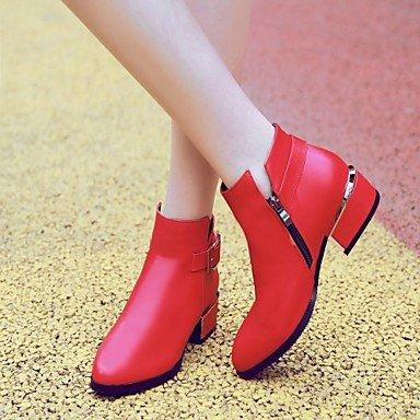 LFNLYX Mujer-Tacón Robusto-Botas a la Moda-Botas-Vestido-Semicuero-Negro / Rojo / Gris Black