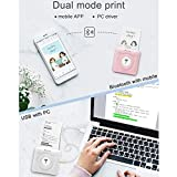 Portable Mini Pocket Label Sticker Receipt Printer, MUNBYN Photo Printer,Compatible with Android iOS Devices Windows System for Child Painting Women Men Gift