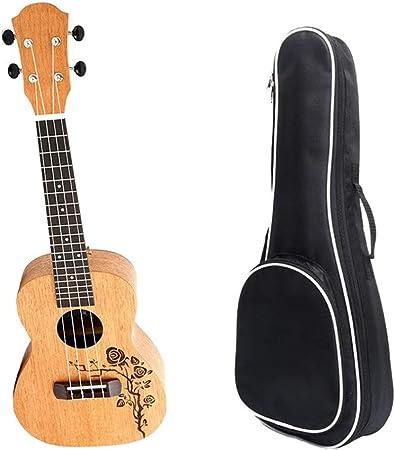 Ukelele Vintage Rose Patrón de 23 pulgadas Sapele concierto de madera tradicional regalos Ukulele Uke Hawaii Niños Pequeños Guitarra Con Estuche for estudiantes principiantes niños de instrumentos mus: Amazon.es: Hogar