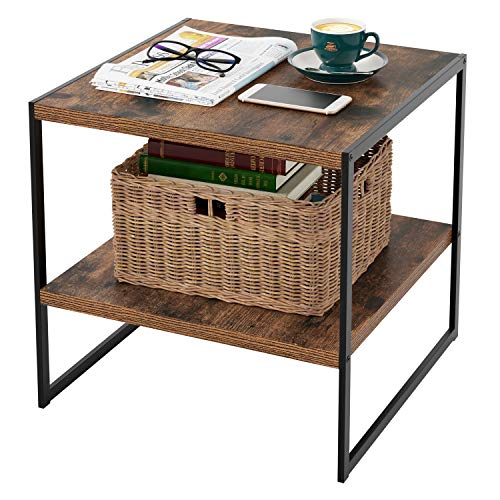 Homfa Industrial End Table, 20 Inch Square Side Table Night Stand Coffee Table with 2-Tier Storage Shelf Wood Look Accent Furniture for Living Room, Bedroom, Sturdy and Easy Assembly-Rustic Brown (Bedroom Iron Wood Furniture)