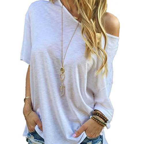 Ideas Costume 70's (Laimeng T-Shirt,Women's Sleeve Casual Tops White T-Shirt (L,)