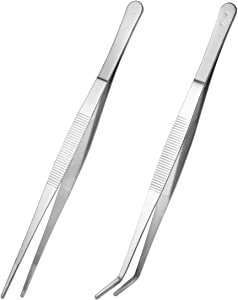 VORCOOL 2PCS Straight and Curved Nippers Tweezers Feeding Tongs Stainless Steel for Kitchen Food Reptile Snakes Lizards Spider - Silver