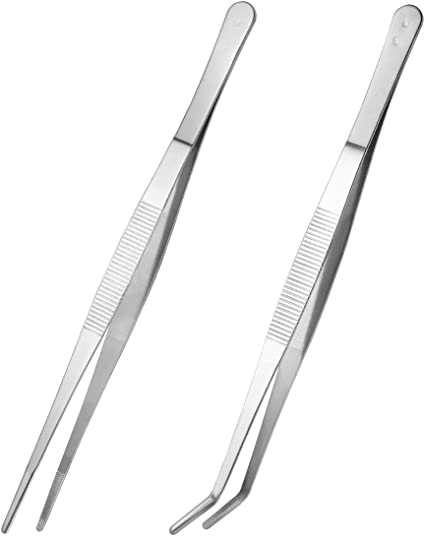 pinzas de 16 cm // 6 pulgadas pinzas de acero inoxidable para alimentos juego de pinzas pinzas de cocina plateado pinzas rectas Pinzas de cocina de 3 piezas pinzas curvas