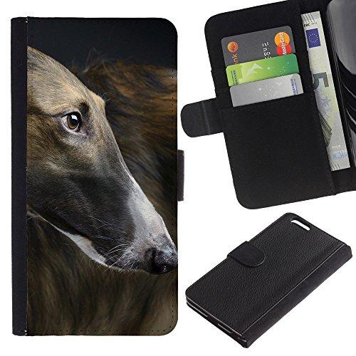EuroCase - Apple Iphone 6 PLUS 5.5 - greyhound racing dog grey canine pet - Cuero PU Delgado caso cubierta Shell Armor Funda Case Cover