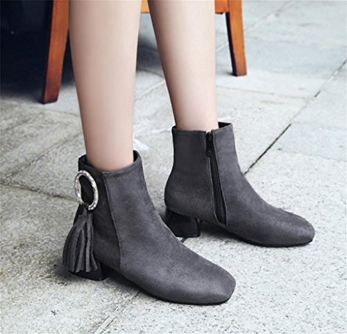 MNII Womens Retro Mode Elastische Damen Stiefeletten Low Mid Block Ferse Schuhe- Modeschuhe Gray