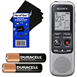 Sony ICD-BX140 MP3 Digital Voice IC Recorder with Built-in 4GB + 2 AAA Batteries + HeroFiber Ultra Gentle Cleaning Cloth