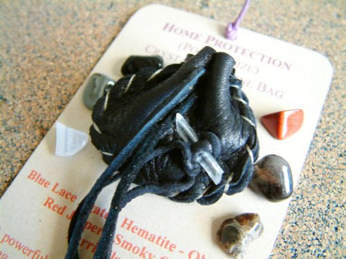 Home Protection Crystal Medicine Bag Healing Stones Small Pocket Size Leather Pouch Reiki Gemstones