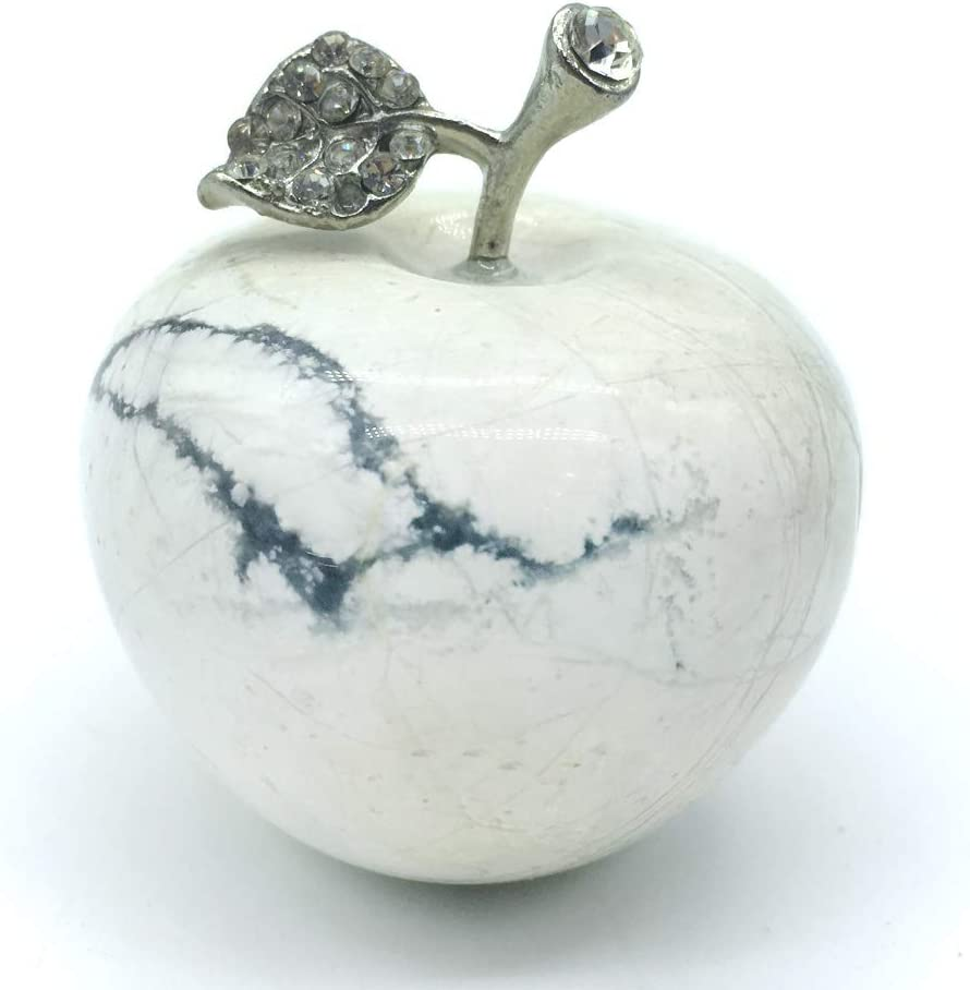 DingSheng 1.8 Inches Natural Quartz Crystal Apple Figurine Reiki Healing Crystal Stone Statue Paperweight Craft Home Decoration (White Turquoise)