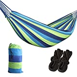 Futurebatt Cotton Hammock Swing Bed for Patio, Porch, Garden or Backyard Lounging - Heavy-Duty, Lightweight and Portable - Indoor & Outdoor - Blue and Yellow