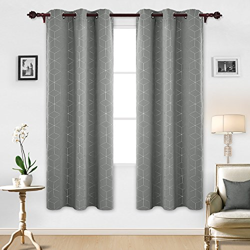 Deconovo Blackout Curtain Room Darkening Thermal Insulated Curtains Grommet Sliver Diamond Foil Print Window Curtain for Bedroom Light Grey 42x84 Inch 2 Panels (Leaf Blackout Curtains)