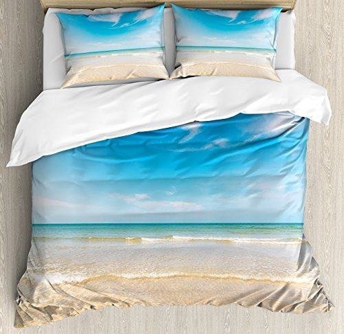 Ambesonne Ocean Duvet Cover Set, Sea and Sky Landscape at Beach in Tropical Exotic Hawaiian Caribbean Lands, Decorative 3 Piece Bedding Set with 2 Pillow Shams, Queen Size, Cream Blue -