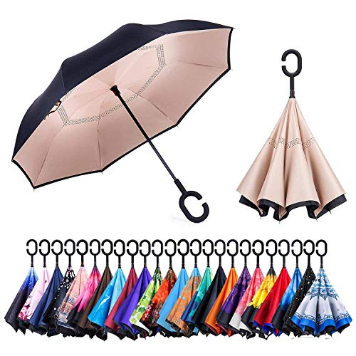 Newsight Reverse/Inverted Double-Layer Waterproof Straight Umbrella, Self-Standing & C-Shape Handle & Carrying Bag for Free Hands, Inside-Out Folding for Car Use (Bright Brown ()