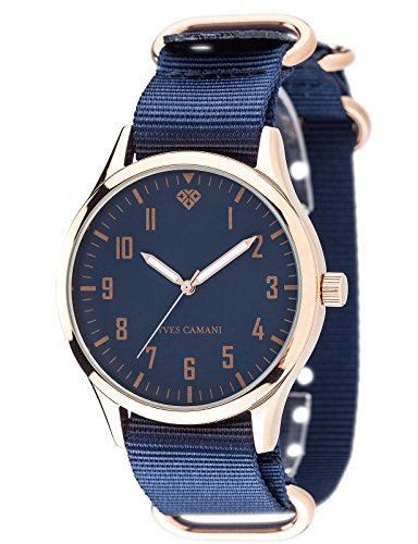 Yves Camani Unisson Mens Quartz Watch Rosegold Dark Blue Analog Display 2 Nylon Nato-Straps YC1084-G