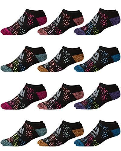Reebok Girl's 12 Pack Low Cut Socks (Medium/Shoe Size: 8.5-2, Black)