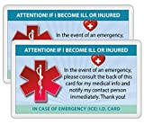 Medical ICE Alert Card In Case of Emergency I.D. Identification Wallet Heavyweight 32 Pt. Card Stock - Our Thickest (Qty. 2 w/laminated pouches from TLC)