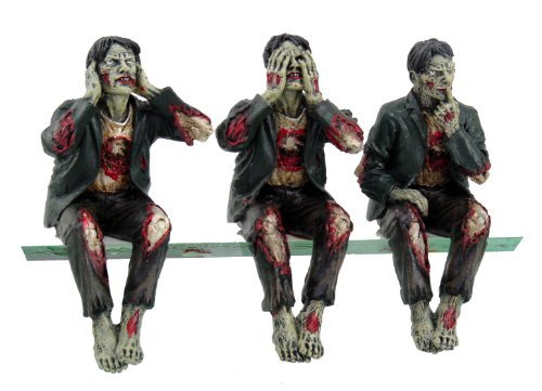 Walking Dead Zombie Undead See Hear Speak No Evil Set of Shelf Sitters Computer Top Statue Figurines -