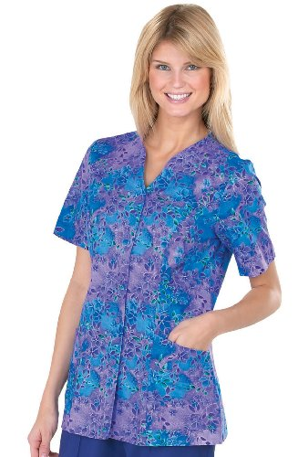 Peaches V-Neck Tunic Tops - Medium, Bright Abstract - 1 Each - Model - Peaches Uniforms V-neck Tunic