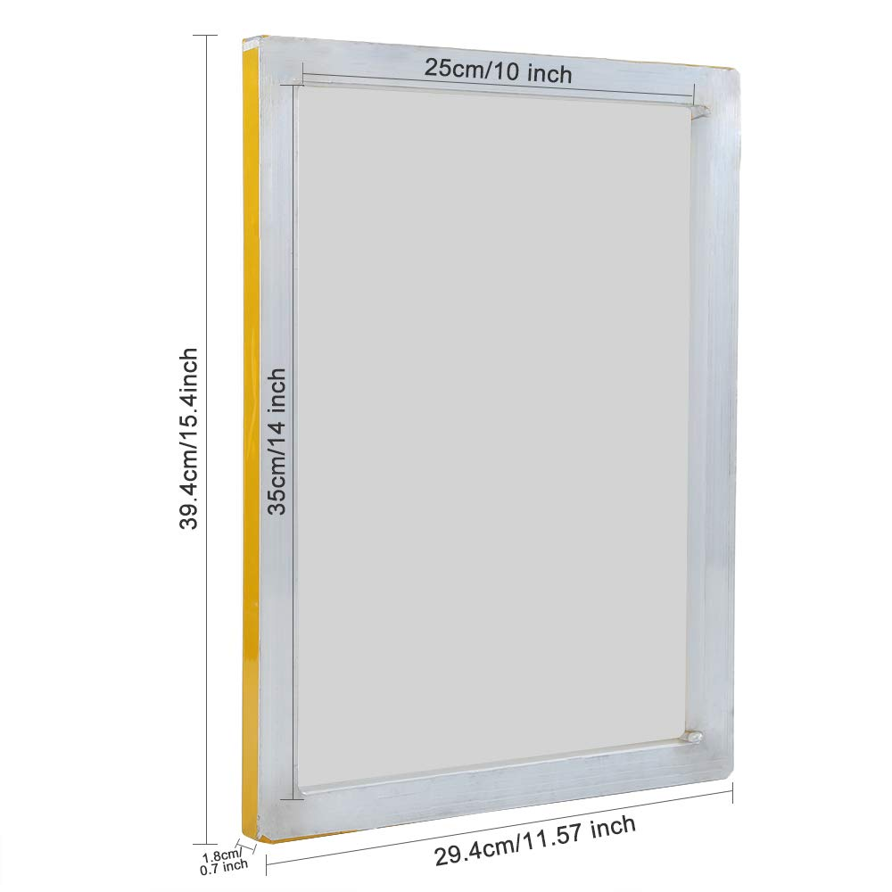 Caydo 1 Piece 10 x 14 Inch Aluminum Silk Screen Printing Frames with 110 White Mesh for Screen Printing