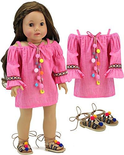 (Sophia's 18 Inch Doll Dress with Shoes Pink Pom-Pom Dress with Tan Strap Pom-Pom Sandals for Dolls)