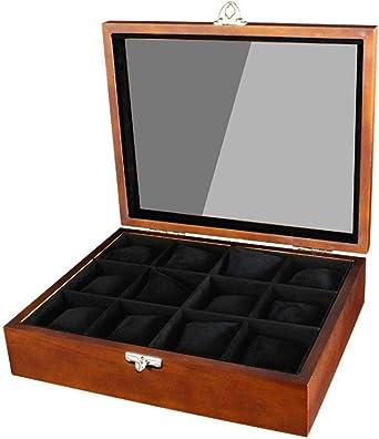 WCX Porta Relojes Y JoyasOrganizadores Caja Joyero Organizador 12 Relojes Ranuras con Tapa De Cristal Hebilla Metal Almohadas De Reloj Removibles para Hombres O Mujeres (Size : 34.4x27.5x9.3cm): Amazon.es: Relojes